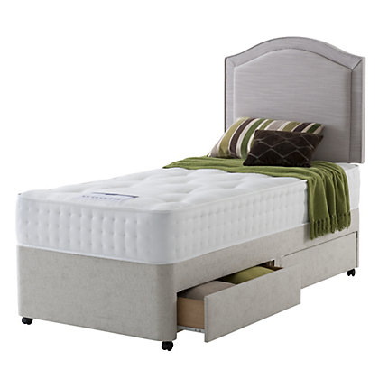 Rest assured 1400 pocket ortho 2 drawer single divan for Cheap single divan with drawers