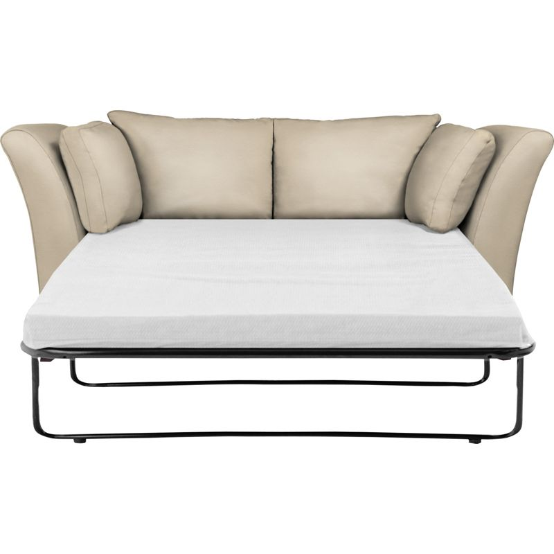 Downing sofa bed taupe leather light feet for Divan bed feet
