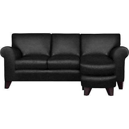 Whittlebury chaise sofa black leather dark feet for Black leather chaise sale