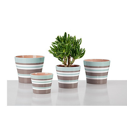 Image for Taupe Indoor Striped Plant Pot - 11cm from StoreName