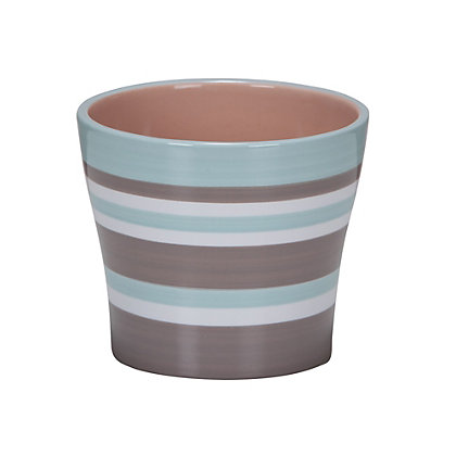 Image for Taupe Indoor Striped Plant Pot - 13cm from StoreName