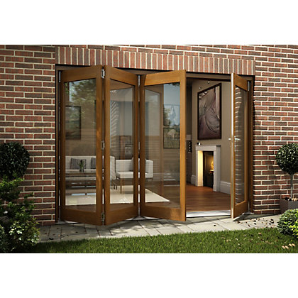 Image for Oak Veneer Folding Sliding Patio Doorset - 2994mm Wide from StoreName