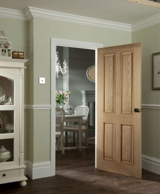 4 Panel Oak Veneer Raised Design Door - 762mm Wide