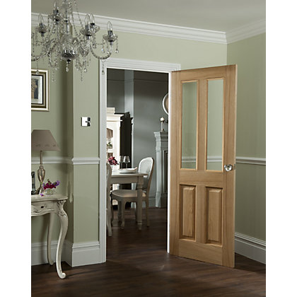 Image for 2 Lite Clear Glazed Oak Veneer Raised Design Internal Door - 762mm Wide from StoreName