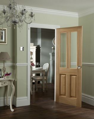 Clear Glazed Oak Veneer Raised Design Door - 762mm Wide