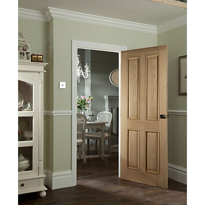Image for 4 Panel White Oak Veneer Raised Design Internal Fire Door - 762mm Wide from StoreName