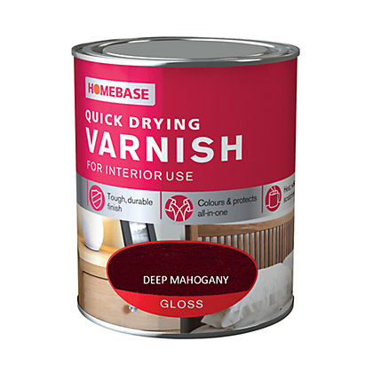 Image for Homebase Quickdry Varnish Gloss Dark Mahogany - 250ml from StoreName