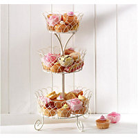 Home of Style Wire Fruit Cake Stand - Cream