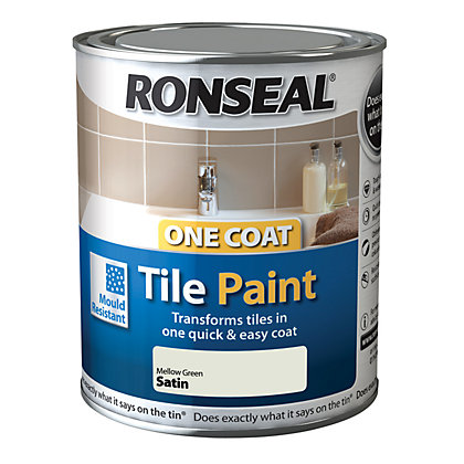 Image for Ronseal One Coat Tile Paint  Mellow Green Satin 750ml from StoreName