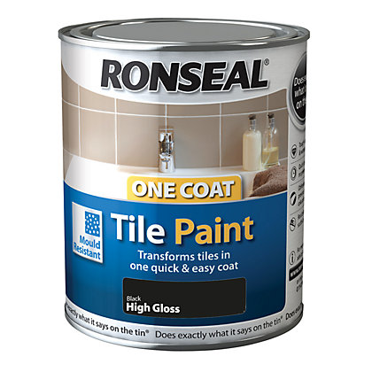 Image for Ronseal One Coat Tile Paint Black High Gloss 250ml from StoreName