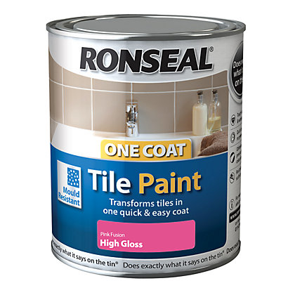 Image for Ronseal One Coat Tile Paint  Pink Fusion High Gloss 250ml from StoreName