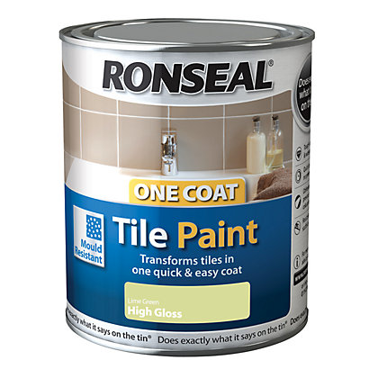 Image for Ronseal One Coat Tile Paint Lime Green High Gloss 250ml from StoreName