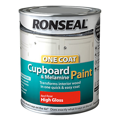 Image for Ronseal One Coat Cupboard Melamine & MDF Paint Red Rose High Gloss 750ml from StoreName