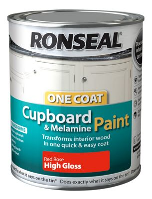 Ronseal One Coat Cupboard Melamine and MDF Paint Red Rose