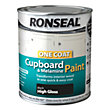 Ronseal One Coat Cupboard Melamine & MDF Paint Black High Gloss 750ml