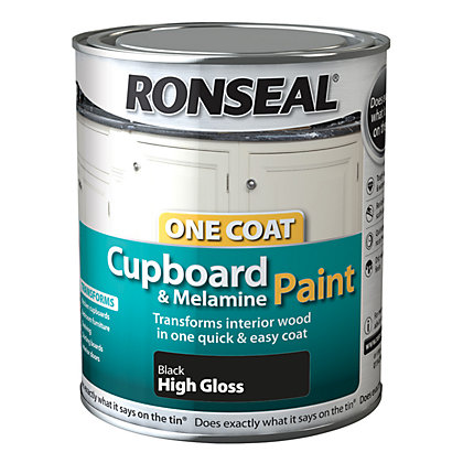 Image for Ronseal One Coat Cupboard Melamine & MDF Paint Black High Gloss 750ml from StoreName