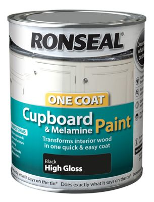 Ronseal One Coat Cupboard Melamine and MDF Paint Black High Gloss 750ml