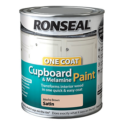 Image for Ronseal One Coat Cupboard Melamine & MDF Paint Mocha Brown Satin 750ml from StoreName