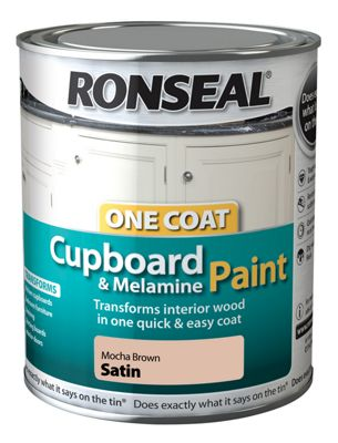Ronseal One Coat Cupboard Melamine and MDF Paint Mocha Brown Satin 750ml