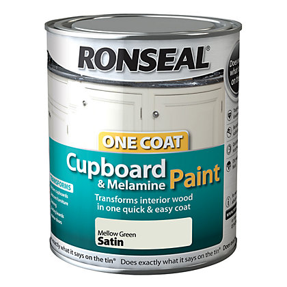 Image for Ronseal One Coat Cupboard Melamine & MDF Paint Mellow Green Satin 750ml from StoreName