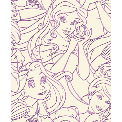 Image for Disney Princess Pink Flock Wallpaper - Pink from StoreName