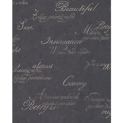 Image for Graham & Brown Concrete Script Wallpaper - Charcoal from StoreName