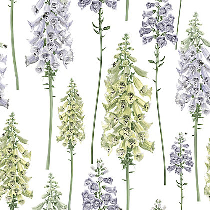 Image for Graham & Brown Foxglove Wallpaper - Lilac & Lemon from StoreName