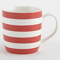 Striped Fine China Mug - Red