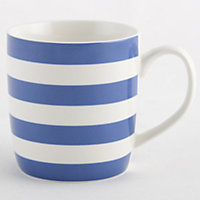 Striped Fine China Mug - Blue