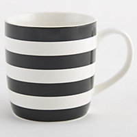 Striped Fine China Mug - Black