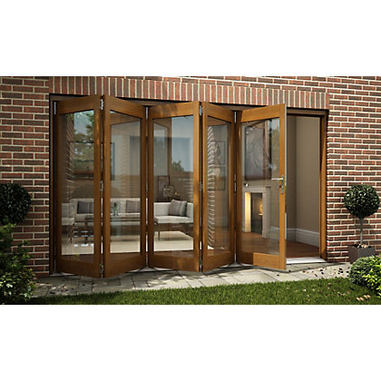 Image for Oak Veneer Folding Sliding Patio Doorset - 3594mm Wide from StoreName