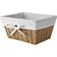 Bathroom Rope Basket with Lining and Bow - Natural