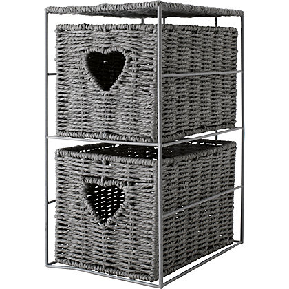 Image for Eden 2 Drawer Wicker Heart Storage Unit - Grey from StoreName