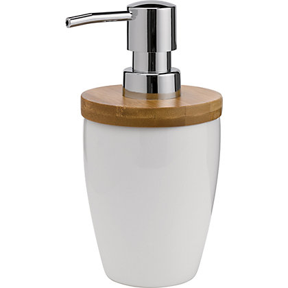 Image for Eden Soap Dispenser - Ceramic and Bamboo Effect from StoreName