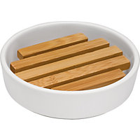 Eden Soap Dish - Ceramic and Bamboo