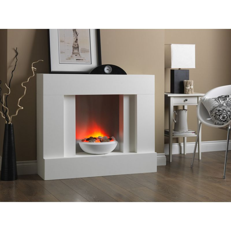 Katell Eclipse Floor Standing Electric Suite In White Finish