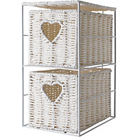 2 Tier Bathroom Unit with Heart - White Wicker