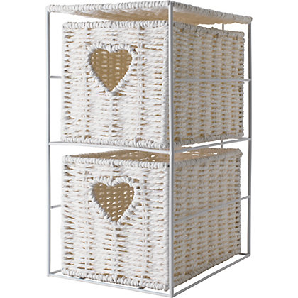 2 Tier Bathroom Unit With Heart White Wicker