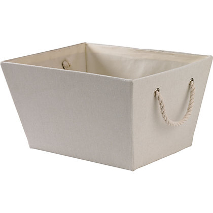 Image for Oversized Cream Rope Handled Storage Bin from StoreName