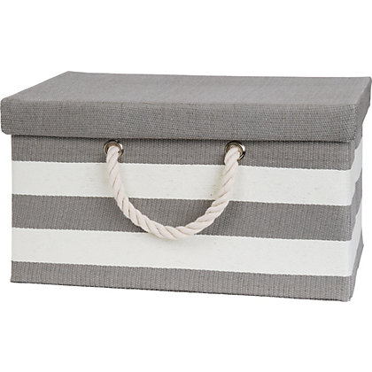 Image for Striped Rope Handled Large Box With Lid from StoreName