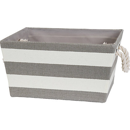 Image for Large Rope Handled Stripe Basket from StoreName