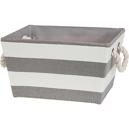 Image for Small Rope Handled Stripe Basket from StoreName