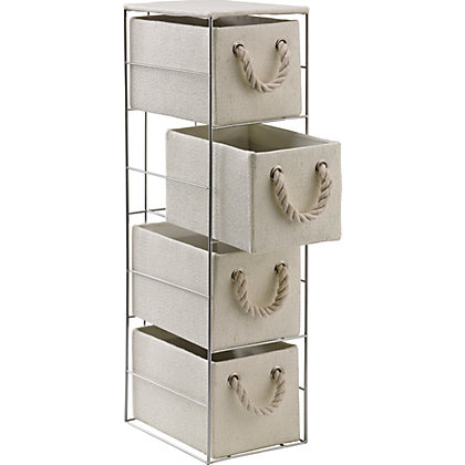 Image for 4 Drawer Cream Rope Handled Storage Unit from StoreName