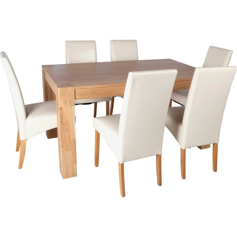 Alston oak dining table and 6 cream chairs for Cream dining table