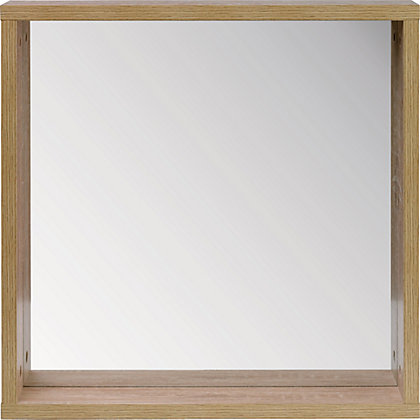 Image for Skydale Framed Bathroom Mirror Shelf - Wood Grain from StoreName