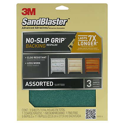 Image for 3M SandBlaster No-Slip Grip Assorted Sheets - Pack 3 from StoreName