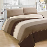 Stripe Duvet Cover Set - Chocolate - Double