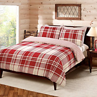 Check Duvet Cover Set - Red - Double
