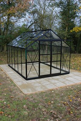 Eden Viscount Greenhouse - Toughened Glass and Base Black -