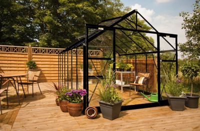 Eden Regal Greenhouse - Toughened Glass and Base - Black-